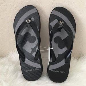 NIB Tory Burch Wedge Flip Flop Black & Grey size 8